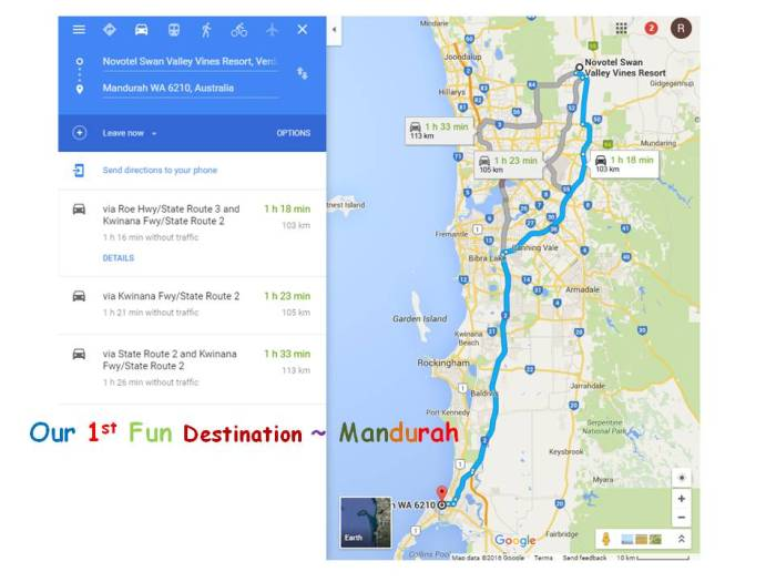 Road map to mandurah
